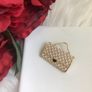 Classy Gold Pearl Purse Bag Brooch Pin